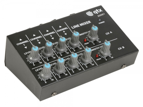 Qtx MM81 8 kanaals mini microfoon mixer