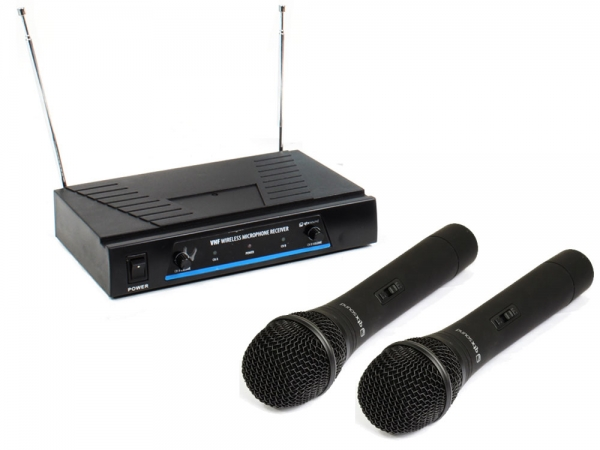 Qtx Sound VH2 draadloos handheld microfoon systeem VHF 173.8 + 174.8MHz