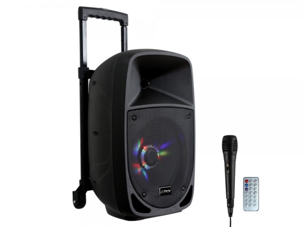 "Party Sound PARTY-8LED mobiele speaker 8"" 300W met Bluetooth, USB en accu"