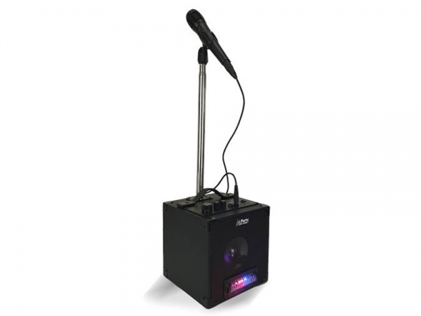 Party Sound PARTY-SINGER karaoke party cube met LED lichteffect, microfoon en statief