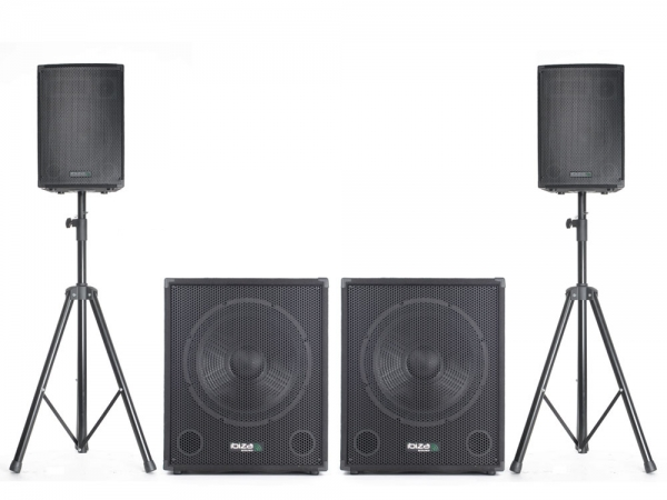 IBIZA CUBE1512DUO Actieve 2.2 speakerset 2800W