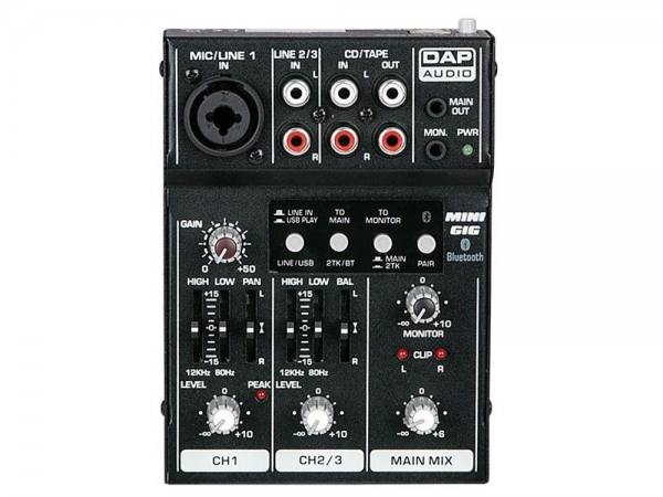 DAP Mini-Gig compacte livemixer met USB Interface en bluetooth