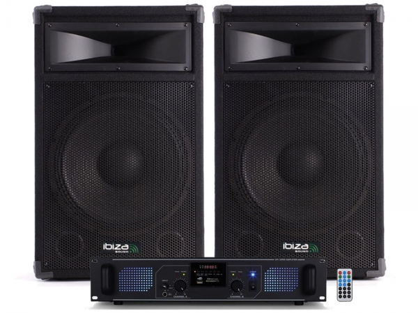"Ibiza Sound Star12B-1000 DJ luidspreker versterker bluetooth + USB/SD set 12"" 2000W"