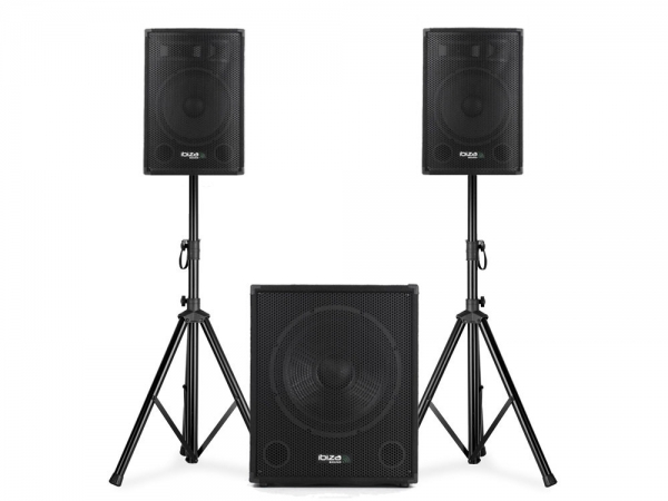 Ibiza Sound CUBE1512 actieve 2.1 speaker subwoofer set 2000W