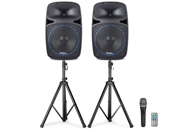 Ibiza Sound PKG12A-SET actieve PA bluetooth speaker set met USB/SD speler 2x 400W