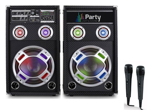 "Party Sound PARTY-KARAOKE10 actieve bluetooth karaoke PA speakers 10"" 800W + 2 microfoons"