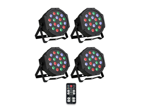 Ibiza Light 4x 18W RGB LED PAR spots 3-in-1 wash effect DMX met afstandsbediening