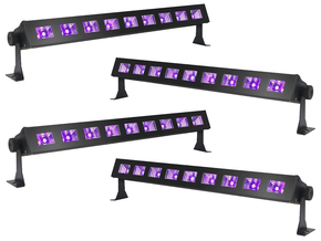 Ibiza Light LED-UVBAR-4 wash blacklight 9x 3W 4 pack