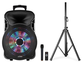 "Party Sound Moovy12 Mobiele Bluetooth PA Luidspreker box 12"" 600W + gratis statief"