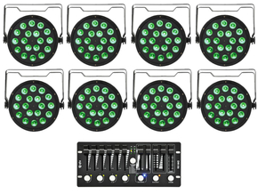 Qtx Light 8x PAR100 LED spot + DM-X6 DMX controller bundel