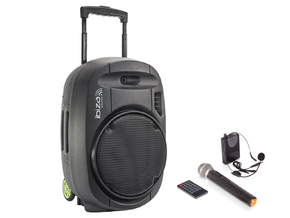 Ibiza Sound PORT12VHF-MKII Mobiele Bluetooth PA Luidspreker Box Accu Trolley USB/SD/VHF 700W